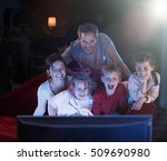 at home by night  cheerful...   Shutterstock . vector #509690980