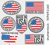made in usa label set with flag ...