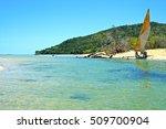 pirogue beach seaweed in indian ...   Shutterstock . vector #509700904