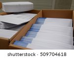 stacks of envelopes on a desk | Shutterstock . vector #509704618