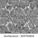 seamless ethnic painted print.... | Shutterstock . vector #509705854
