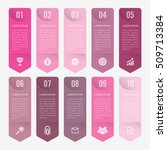 infographic template pink 10... | Shutterstock .eps vector #509713384