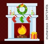 christmas fireplace. xmas and... | Shutterstock .eps vector #509719456