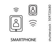 smartphone line icon. vector...
