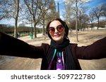 stylish woman take selfie from... | Shutterstock . vector #509722780
