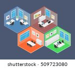isometric office vector... | Shutterstock .eps vector #509723080