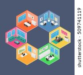 isometric office vector... | Shutterstock .eps vector #509741119