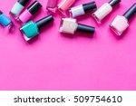 lot of bottles nail polish on... | Shutterstock . vector #509754610