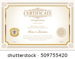 certificate or diploma template | Shutterstock .eps vector #509755420
