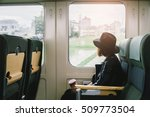enjoying travel. young pretty... | Shutterstock . vector #509773504