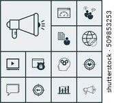 set of seo icons on media... | Shutterstock .eps vector #509853253