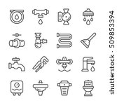 set line icons of plumbing | Shutterstock .eps vector #509853394