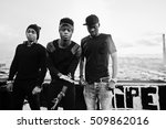 three rap singers band on the... | Shutterstock . vector #509862016