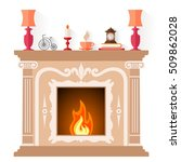 fireplace in classic style... | Shutterstock .eps vector #509862028