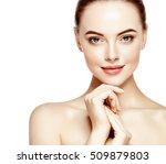 portrait of beautiful woman on...   Shutterstock . vector #509879803