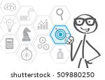 businessman touching icon of... | Shutterstock . vector #509880250