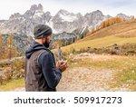 bearded hiking man in alps... | Shutterstock . vector #509917273
