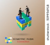 isometric business connection... | Shutterstock .eps vector #509956918