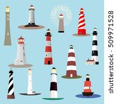 set of cartoon lighthouses.... | Shutterstock .eps vector #509971528