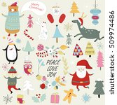 christmas cards with cute santa ... | Shutterstock .eps vector #509974486