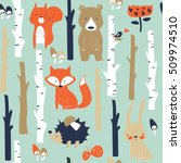forest seamless background with ... | Shutterstock .eps vector #509974510