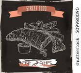 fish and chips sketch on black... | Shutterstock .eps vector #509980090