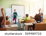happy children sitting in class ... | Shutterstock . vector #509989723