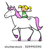 happy cartoon girl riding a
