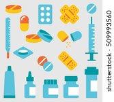 set flat medical pills  | Shutterstock .eps vector #509993560