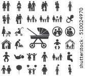 pram icon on the white... | Shutterstock .eps vector #510024970