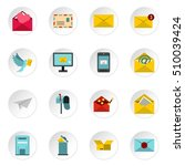 email icons icons set. flat... | Shutterstock . vector #510039424