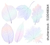 set colored leaves on white....   Shutterstock .eps vector #510048064