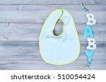 baby bib and word baby on... | Shutterstock . vector #510054424