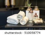 towels and natural soap with... | Shutterstock . vector #510058774