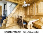 mountain chalet wooden living... | Shutterstock . vector #510062833