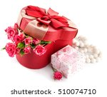 gift with bunch roses on... | Shutterstock . vector #510074710