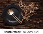black empty plate fork spoon on ...   Shutterstock . vector #510091714