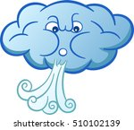 cloud blowing wind cartoon | Shutterstock .eps vector #510102139