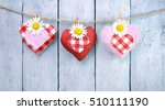 Three Checkered Hearts With...