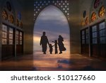 muslim family silhouette sunset ... | Shutterstock . vector #510127660