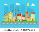 urban and village landscape.... | Shutterstock .eps vector #510129679