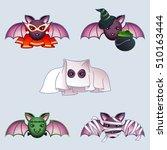 cartoon bats in halloween... | Shutterstock . vector #510163444