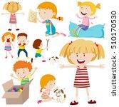 many children doing different... | Shutterstock .eps vector #510170530