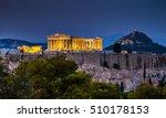 Parthenon Of Athens At Dusk...