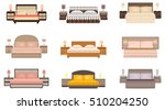 set of warm colors nine bed... | Shutterstock .eps vector #510204250