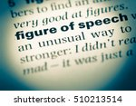 Small photo of Close up of old English dictionary page with word figure of speech