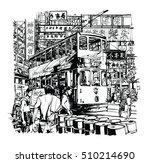 hong kong  tram on the street   ... | Shutterstock .eps vector #510214690