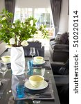 beautiful modern table setting... | Shutterstock . vector #510220114