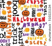 trick or treat. hand drawn... | Shutterstock .eps vector #510221134