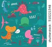cute dinosaurs. vector...   Shutterstock .eps vector #510221548